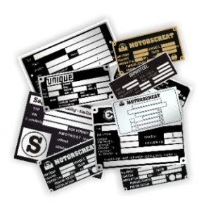 Kovové, plastové výrobné štítky